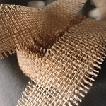 Natural Burlap Jute Ribbon with Fringed Edge, 1.5