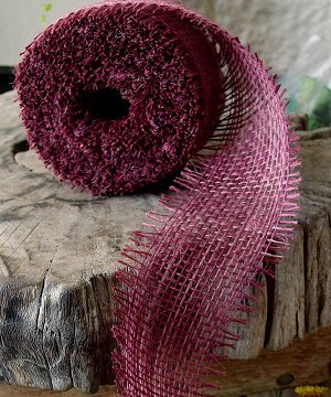 "Burgundy Burlap Jute Ribbon with Fringed Edge, 2.5"" x 10 yards (30 feet)"