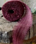 Burgundy Burlap Jute Ribbon with Fringed Edge, 2.5