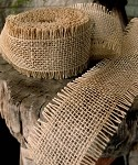 Natural Burlap Jute Ribbon with Fringed Edge, 2.5