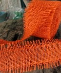 Orange Burlap Jute Ribbon with Fringed Edge, 2.5