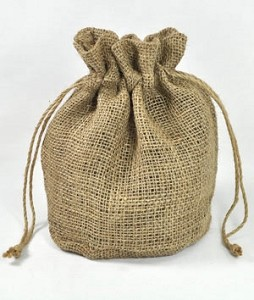 "Burlap Round Bottom Bags (11"" x 9"" x 6"" diameter), 10 bags per pack"
