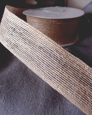 "Natural Jute Ribbon with Serged Edge, 1.5"" x 10 yards (30 feet)"