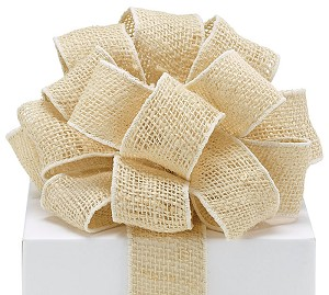 "Ivory Burlap Wired Ribbon, 2"" x 10 yards (30 feet)"