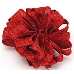 Red Burlap Wired Ribbon, 1-1/2