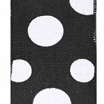 Wired Burlap Dixie Dot Ribbon, Black with White Dots,  4