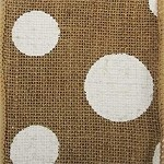 Wired Burlap Dixie Dot Ribbon, Natural color with White Dots,  4