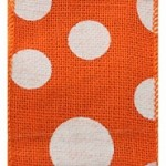 Wired Burlap Dixie Dot Ribbon, Orange with White Dots,  4
