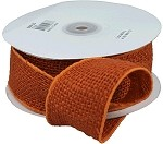 Orange Burlap Wired Ribbon, 2