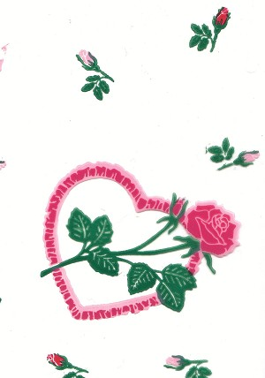 Rose Hearts Printed Cellophane Roll, 100' L