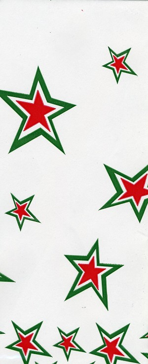 Superstar - Red & Green Printed Cellophane Roll, 100' L