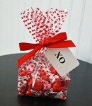 Dots-Red Cellophane Printed Bags, 100 bags