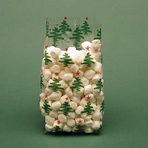 Little Trees Red & Green Cellophane Printed Bags, 100 bags