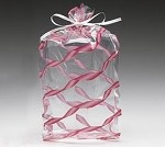 Red Twisted Ribbon Cellophane Printed Bags, Small (3.5 x 2 x 7.5), 100 bags