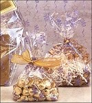 Stars & Streamers - Lavender & Gold Cellophane Printed Bags, 100 bags