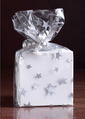 Stars - Silver Cellophane Printed Bags, 100 bags