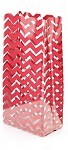 Chevron-Red Cellophane Printed Bags, 100 bags