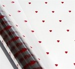 Hearts-Red Printed Cellophane Roll, 40 inch x 100' L