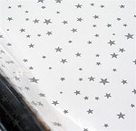Stars - Silver Printed Cellophane Roll, 100' L