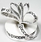 Soccer with Ball Satin Ribbon, 5/8