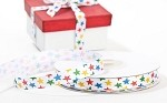 Stars (White/Primary) Satin Ribbon, 3/8