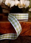 Mint Gingham Checkered Ribbon, 5/8