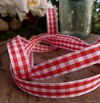 Red Gingham Checkered Ribbon, 5/8