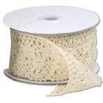 Ivory Cotton Crochet Lace Ribbon, 2-1/3