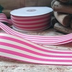 Hot Pink & Ivory Striped Woven Ribbon