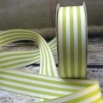 Lime & Ivory Striped Woven Ribbon