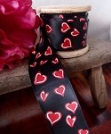 Black Double Face Satin Ribbon with Red/White Hearts, 1-1/2