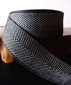 "Black Chevron Herringbone Cotton Ribbon, 1-1/2"" x 10 yards"
