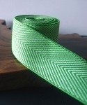 Green Chevron Herringbone Cotton Ribbon, 1-1/2