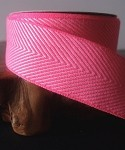Hot Pink Chevron Herringbone Cotton Ribbon, 1-1/2