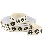 Paw Print Cotton Ribbon, 25 yards