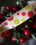 Polka Dot Print Cotton Ribbon, 25 yards