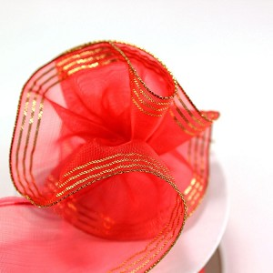 Red Sheer Organza Pull Up Ribbon (Ruffle Style) with Gold Metallic Edge