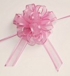 Hot Pink Organza Pull Bow with Satin Edge, 12 individually packed bows