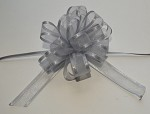 Silver Organza Pull Bow with Satin Edge, 12 individually packed bows