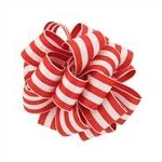 Wired Grosgrain Carnival Ribbon, Red/White, 25 yards