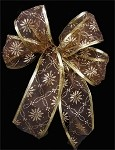 Brown with Gold Design and Trim Wired Ribbon, 2