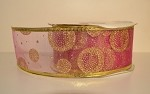 Fuchsia with Gold Dots and Trim Wired Ribbon, 2