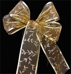 Gold Organza with Gold Leaves and Trim Wired Ribbon, 2