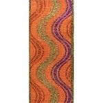 Wired Glennda Fall Ribbon, Orange, Purple, Lime Glitter Ribbon, 2.5