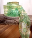 Green Daisy Floral Print Satin/Sheer Ribbon with Wired Edge, 1-1/2
