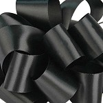 Black Wired Double Face Satin Ribbon, 25 yards