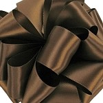 Chocolate Wired Double Face Satin Ribbon, 25 yards