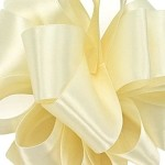 Ivory Wired Double Face Satin Ribbon, 25 yards