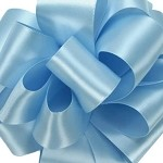 Light Blue Wired Double Face Satin Ribbon, 25 yards
