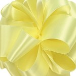 Light Yellow Wired Double Face Satin Ribbon, 25 yards
